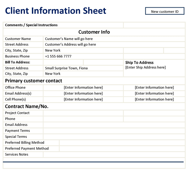 Doc12751650 Customer Information Sheet Template 8 Client – Customer Information Sheet Template