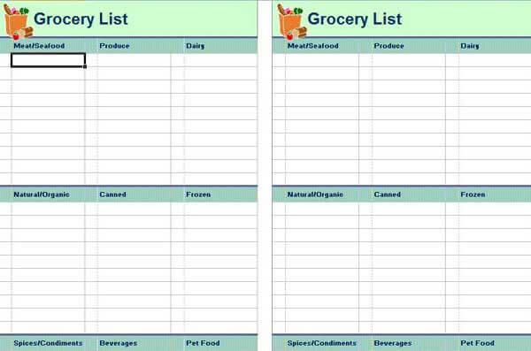 Grocery List Templates